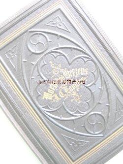 画像1: アンティーク洋書☆ 教会建築のような模様の古書 三方金 深い立体の模様   格言ほか