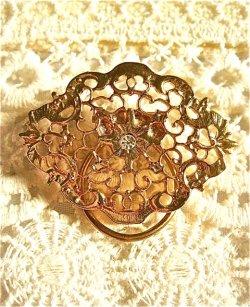 画像1: ビンテージ  模様の美しい スカーフ用 ブローチ