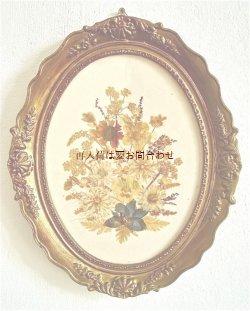 画像1: アンティーク 豪華な木製フレーム 押し花 ブローチのような壁飾り