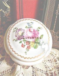画像1: ブロカント〜アンティーク 薔薇柄 陶器の小物入れ