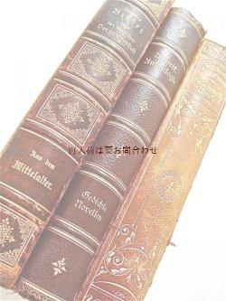 画像1: アンティーク洋書セット ディスプレイ  インテリア  撮影にも☆ 素敵な背表紙の古書 固定  3冊