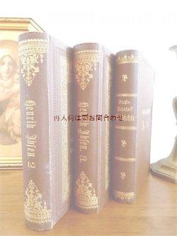画像1: アンティーク洋書セット  ディスプレイ  インテリア  撮影にも☆ エンボス 金彩 茶系の古書 3冊セット