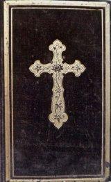アンティーク洋書☆ 茶色いベルベット装の古書  十字架 聖杯柄の讃美歌集