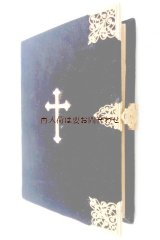 アンティーク洋書☆  美しい十字架の古書 讃美歌集 ゴールド 留め具付 プロテスタント