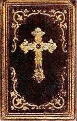 アンティーク洋書☆ ベルベット装 十字架 聖杯柄の讃美歌集 1867年