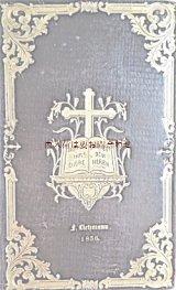 アンティーク☆深い立体の美しい古書 1850年代 ゴールドの模様の美しい讃美歌集 革装 プロテスタント