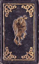 アンティーク洋書★ 革装 カトリック 聖母子と天使柄の祈祷書 お祈りと教えの本 深い立体の模様 1850年代