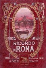 アンティーク★ エンボス表紙 素敵な紙もの 写真集 (蛇腹状) 伊 ローマ  サンタンジェロ橋の表紙